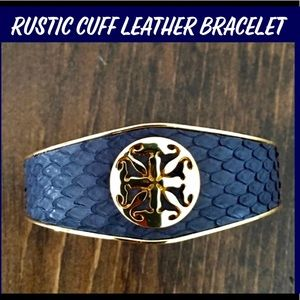 RUSTIC CUFF METAL & VEGAN LEATHER BRACELET NAVY